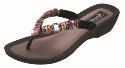 Grandco Rainbow Wedge Women's Beaded Thong Sandals