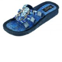 Grandco Women's Beaded Denim Slide Sandals
