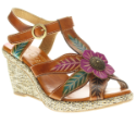 Picturesque Women's Leather Wedge Sandal With T-Strap by Spring Step