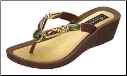Grandco Sandals - Bamboo Beaded Wedge Thong Sandal