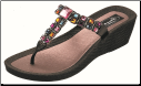 Grandco Sandals - Brilliance Colorful Squares Beaded T-Thong Wedge Women's Sandal