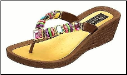 Grandco Sandals - Rainbow Multi-Color Beaded Wedge Thong Sandal