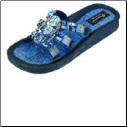 Grandco Sandals - Denim Beaded Slide Sandal