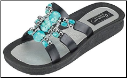 Grandco Sandals - Venice Turquoise Beaded Slide Sandal