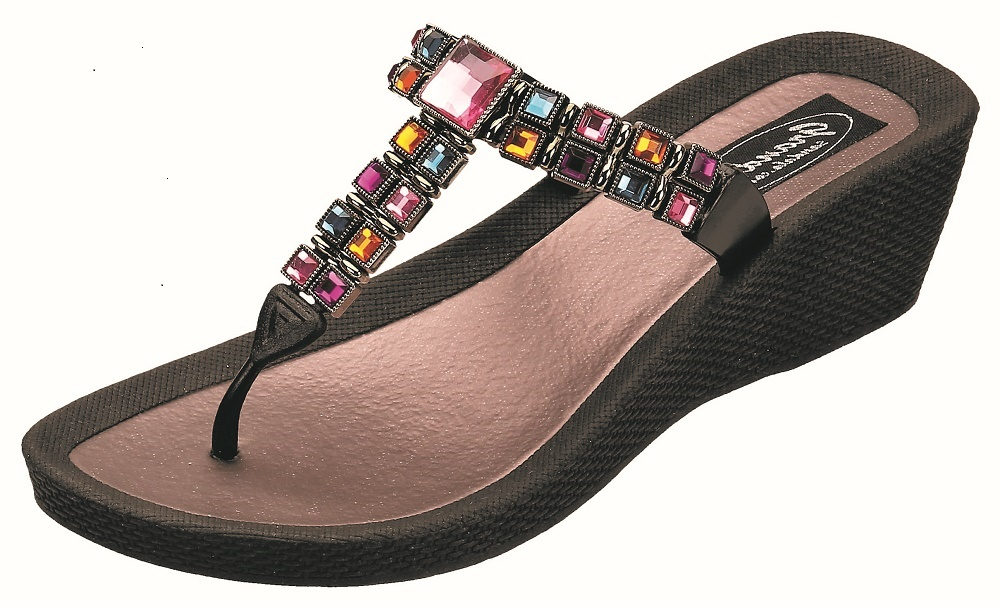 01d02a17e62c35 Grandco Sandals - Brilliance Colorful Squares Beaded T-Thong Wedge ...