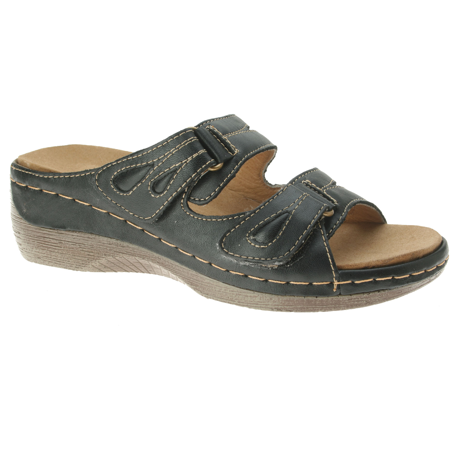 Women's sandals with removable insoles -  Sunshine Women S Leather Sandal Black